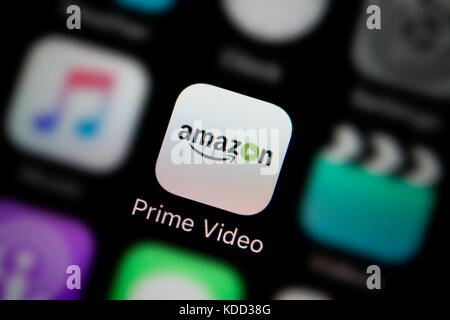 A close-up shot of the logo representing Amazon Prime Video app icon, as seen on the screen of a smart phone (Editorial - Stock Photo