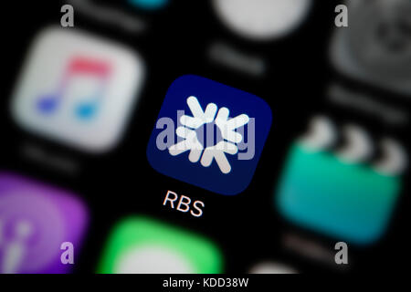 A close-up shot of the logo representing RBS app icon, as seen on the screen of a smart phone (Editorial use only) - Stock Photo