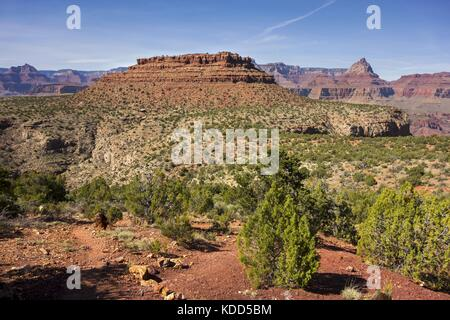 Panoramic Landscape View of Horseshoe Mesa and Vishnu Temple Rock Feature on a Great Hiking Trail in Grand Canyon - Stock Photo