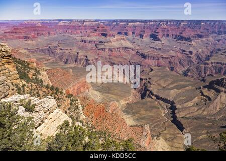 Panoramic Landscape View of Bright Angel Great Hiking Trail in Arizona Grand Canyon National Park from Matier Point - Stock Photo