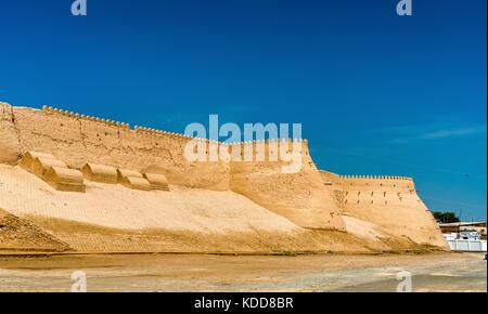 City walls of the ancient city of Ichan Kala in Khiva, Uzbekistan - Stock Photo