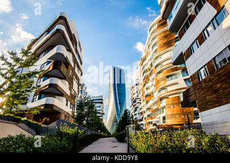 MILAN, ITALY - SEPTEMBER 20,2017: The new skyscraper Generali Headquarter designed by Zaha Hadid Architects at Citylife - Stock Photo