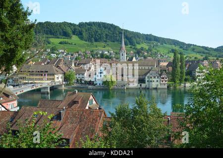 View of the historical town of Stein am Rhein, Switzerland - Stock Photo
