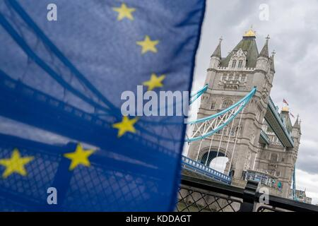 London: EU flag in front of the Tower Bridge - as seen from South Banks of the Thames. Photo from 05. May 2017. - Stock Photo
