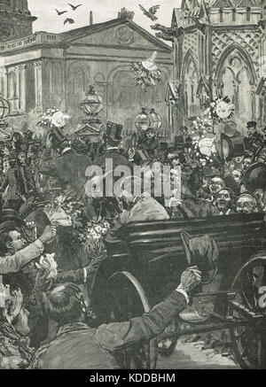 'Peace with Honour'  The reception of Benjamin Disraeli and Lord Salisbury at Charing Cross, London, England on - Stock Photo