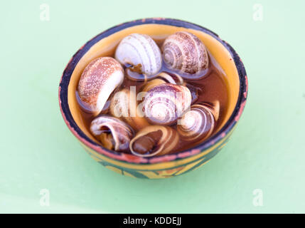 Boiled and cooked snails with striped shells in small bowl on market. Marrakesh, Morocco - Stock Photo