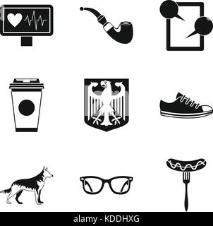 Walking around city icons set, simple style - Stock Photo