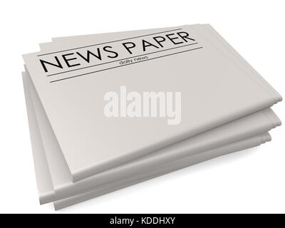 Pile of blank newspapers isolated on white background, 3D rendering - Stock Photo