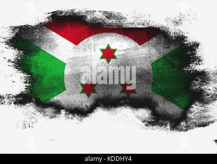 Burundi flag painted with brush on white background, 3D rendering - Stock Photo