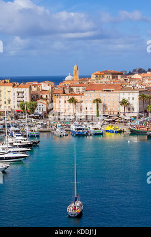 Above looking down on Ajaccio marina and the Old Town, Corsica, France. - Stock Photo