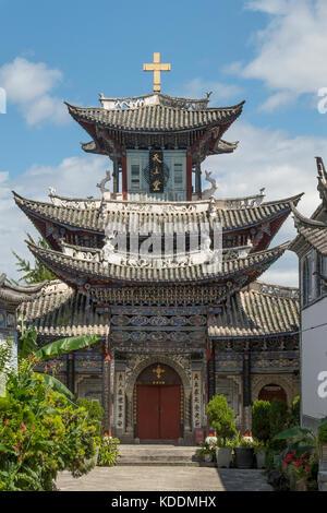 Trinity Catholic Church, Ancient City of Dali, Yunnan, China - Stock Photo