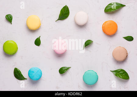 Top view of tasty colorful macaroons - Stock Photo