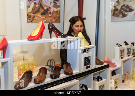 London, UK, 12th Oct 2017. Chocolate Shoes from A.Z.R.A. Opening night of the Chocolate Show 2017 at Kensington - Stock Photo