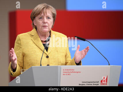 Hanover, Germany. 12th Oct, 2017. German Chancellor Angela Merkel (CDU) speaks during the trades union congress - Stock Photo