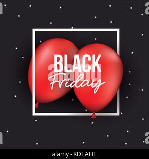 black friday poster with white frame over two red balloons in black and starry color background - Stock Photo