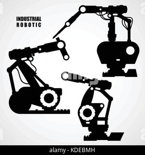 Industrial robotics - conveyor machinery tools silhouettes - Stock Photo