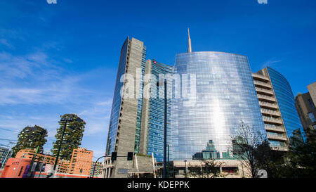 Garibaldi Station and Unicredit Tower area with vertical forest, Milan, Italy - Stock Photo