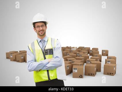 Digital composite of man with boxes - Stock Photo