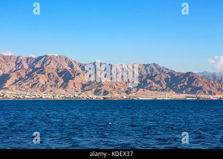 Coastline landscape of Red Sea in Gulf of Aqaba - Stock Photo