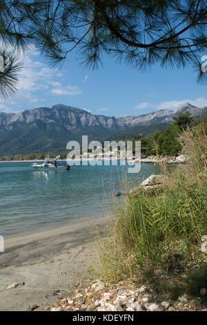 Small beach overlooking Golden Beach, Chrysi Ammoudia, Thassos, Greece, Greek island, Ipsarion mountains, Ypsarion - Stock Photo
