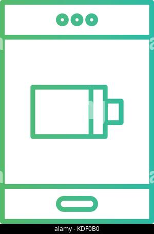 line smartphone technology charging the battery vector illustration - Stock Photo