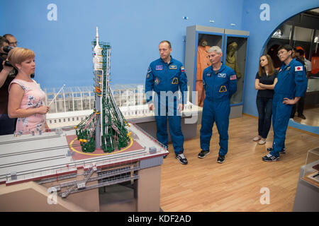 NASA International Space Station Expedition 52 Soyuz MS-05 backup crew members (L-R) Russian cosmonaut Alexander - Stock Photo