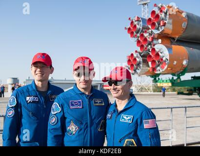 NASA International Space Station Expedition 52 backup crew members (L-R) Japanese astronaut Norishige Kanai of the - Stock Photo