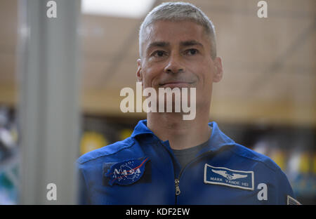 NASA International Space Station Expedition 52 Soyuz MS-05 backup crew member American astronaut Mark Vande Hei - Stock Photo