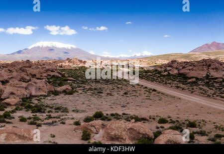 Drive in the desert, Bolivia - Stock Photo