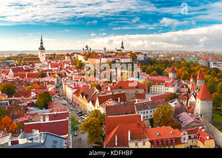 Aerial panorama of Old town, Tallinn, Estonia - Stock Photo