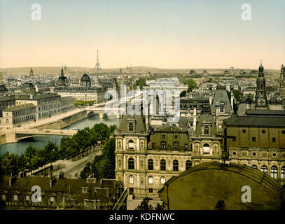 Panorama of the seven bridges, Paris, France, between ca. 1890 and ca. 1900 - Stock Photo