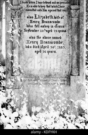 An infrared shot of old, ivy-covered Victorian gravestones. - Stock Photo