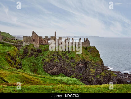 Dunluce castle used in the Game of Thrones as House of Greyjoy near Portrush on the Causeway Coastal Route County - Stock Photo