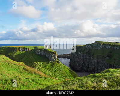 Dunseverick Castle near the Giants Causeway on the Antrim Coast Northern Ireland - Stock Photo
