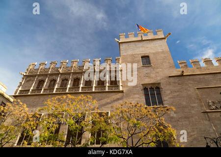 Exterior of Lonja de la Seda a 15th Century cloth market in Valencia, Spain. - Stock Photo