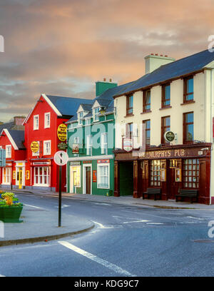 Colorful store fronts in Dingle, County Kerry, Ireland - Stock Photo