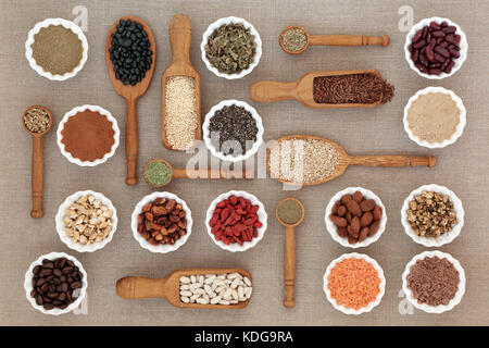 Dried diet health food with nutritional supplement powders, herbs used as appetite suppressants, pulses, coffee, - Stock Photo