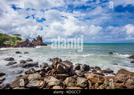 Thailand, Trat Province, tropical island of Koh Chang in the Gulf of Thailand, rocky coast at Cape Chai Chet - Stock Photo