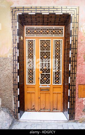 Traditional Moroccan entry door in Medina. Meknes. Morocco - Stock Photo
