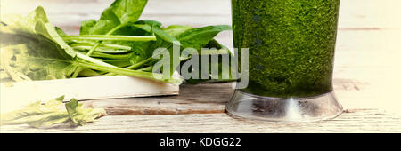 Proper nutrition. DETOX drink made from green vegetables in a blender. COOKING PROCESS. Detox drink made from spinach, - Stock Photo
