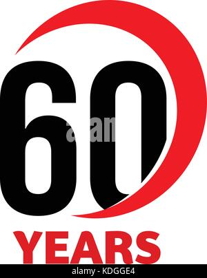 Anniversary 60 Years Template With Ribbon Vector Illustration Stock