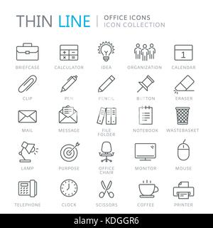 Collection of office thin line icons. Vector eps10 - Stock Photo