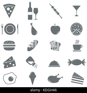 Set of 16 food icons. Vector illustration - Stock Photo