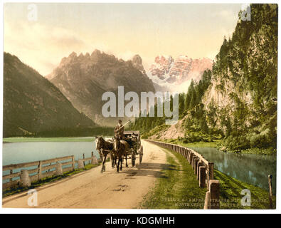 Monte Cristallo and Mont Popena, Ampezzostrasse with Durrensee, Tyrol, Austro Hungary LCCN2002711068 - Stock Photo