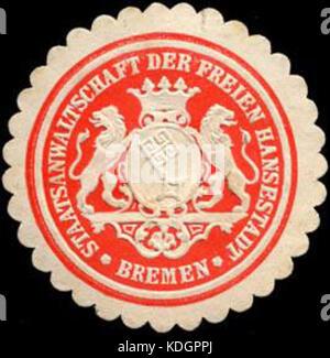 Siegelmarke Staatsanwaltschaft der Freien Hansestadt   Bremen W0204831 - Stock Photo