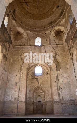 Destroyed interior of the main mosque complex Bibi Khanym, Samarkand, Uzbekistan - Stock Photo
