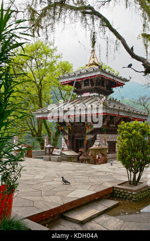 The Barahi Temple is situated on an island in the lake Fewa - Stock Photo