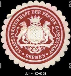 Siegelmarke Staatsanwaltschaft der Freien Hansestadt Bremen W0238483 - Stock Photo