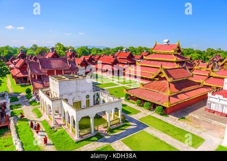 Mandalay, Myanmar buildings on the Royal Palace grounds. - Stock Photo