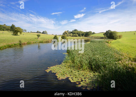 Quintessential English Landscape or Capability Brown Landscape and Lake at Compton Verney House, Warwickshire, England - Stock Photo